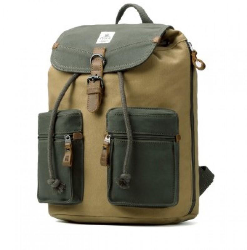 Troop London TRP0417 Velký batoh s dvěmi kapsičkami - Green/Camel