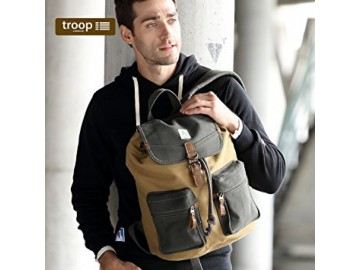 Troop London TRP0417 Velký batoh s dvěmi kapsičkami - Navy/Camel