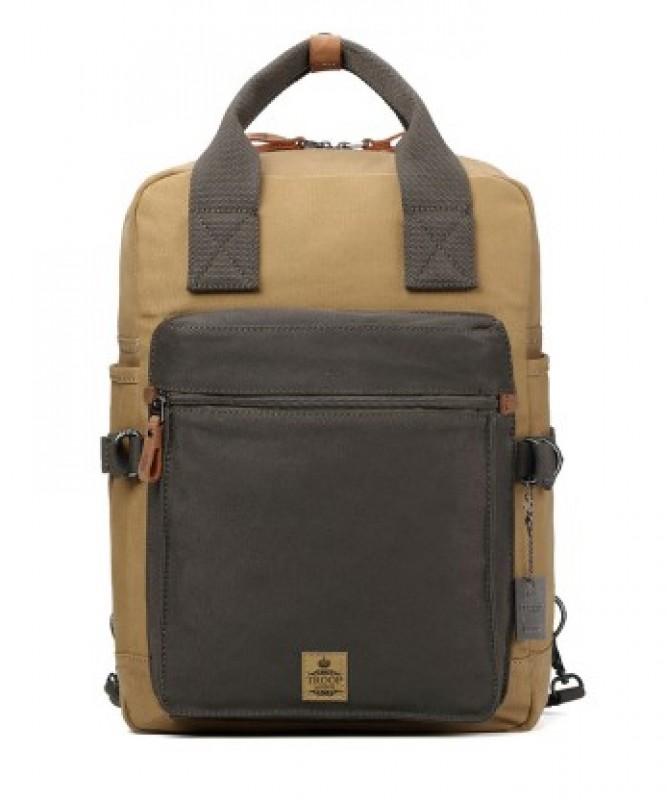 Troop London TRP0419 Taška a ruksak v jednom vhodný i pro NTB - Green/Camel