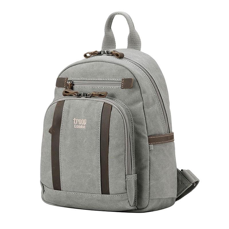 Troop London TRP0255 Malý batoh z přírodní bavlny - Grey